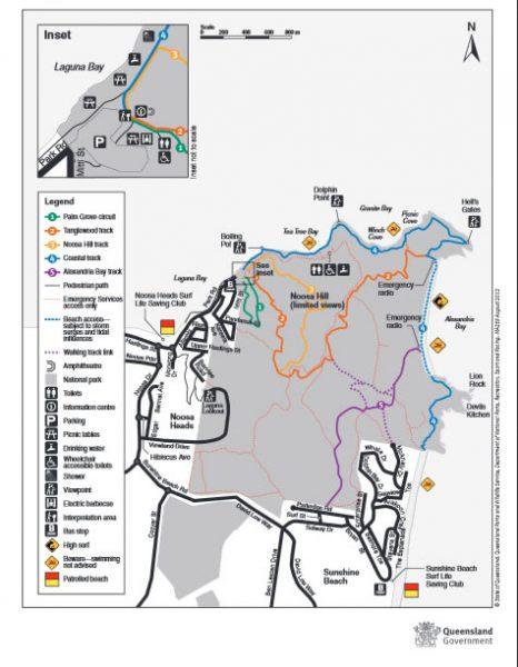 Mapa com as trilhas e praias. Fonte: Queensland Government